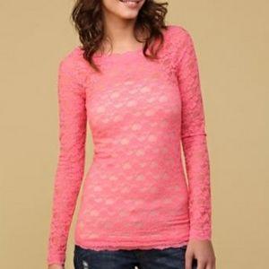 Free People Scandalous Lace Top pink Large
